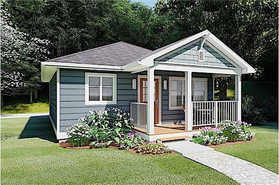 Side View of this 1-Bedroom,624 Sq Ft Plan -177-1054