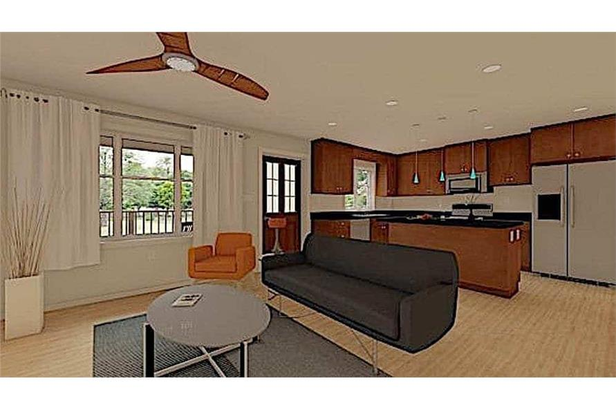 Living Room of this 1-Bedroom,624 Sq Ft Plan -177-1054
