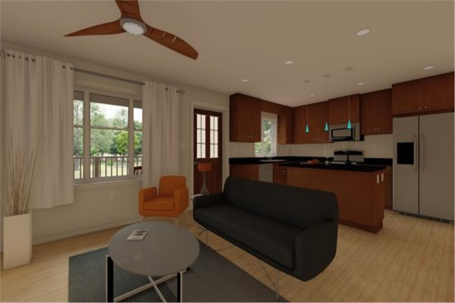177-1054: Home Plan Rendering-Living Room