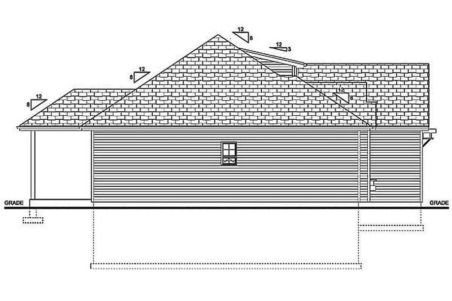 Home Plan Left Elevation of this 3-Bedroom,1244 Sq Ft Plan -177-1055