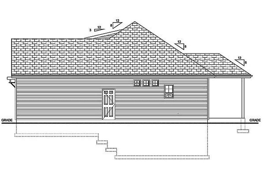 Home Plan Right Elevation of this 3-Bedroom,1244 Sq Ft Plan -177-1055