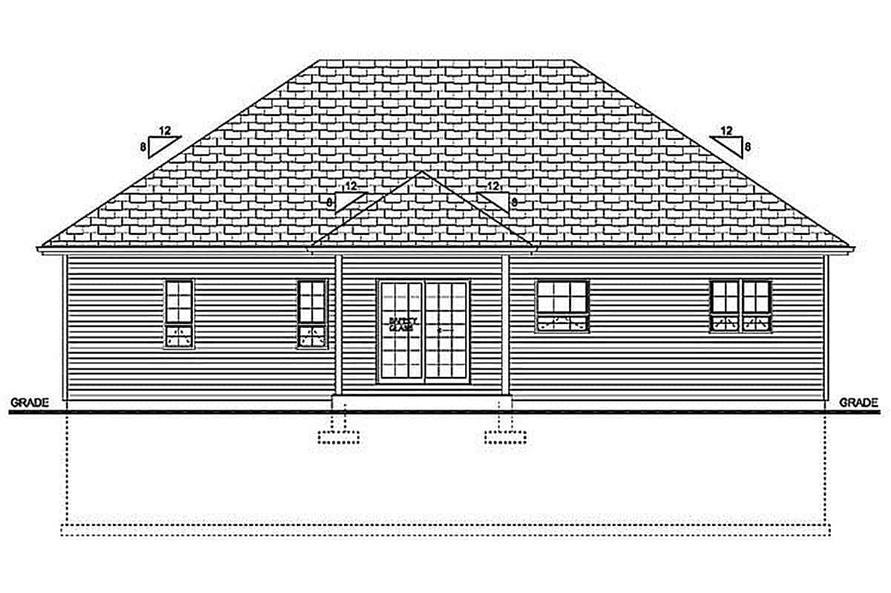 Home Plan Rear Elevation of this 3-Bedroom,1244 Sq Ft Plan -177-1055