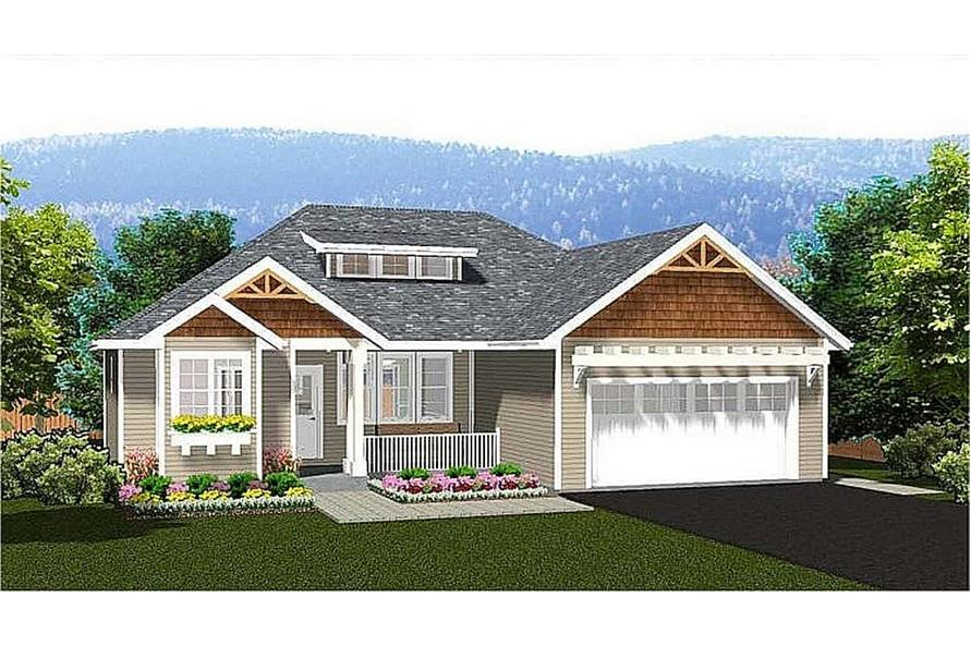 3-Bedroom, 1244 Sq Ft Ranch House - Plan #177-1055 - Front Exterior