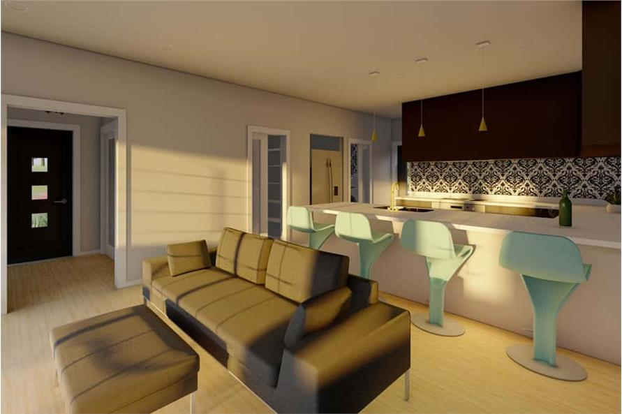 Living Room of this 1-Bedroom,1024 Sq Ft Plan -177-1056