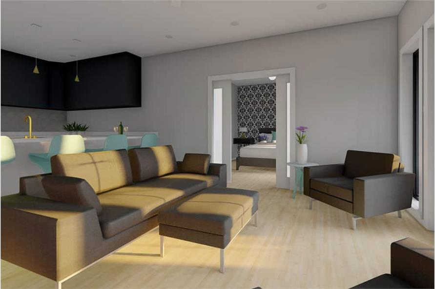 Living Room of this 1-Bedroom,928 Sq Ft Plan -177-1057