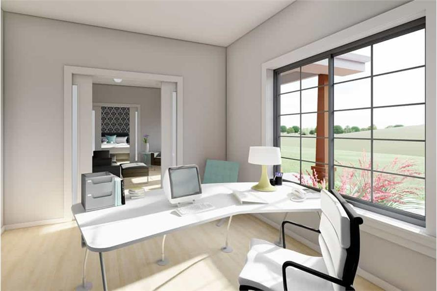 Home Office: Library of this 1-Bedroom,928 Sq Ft Plan -177-1057
