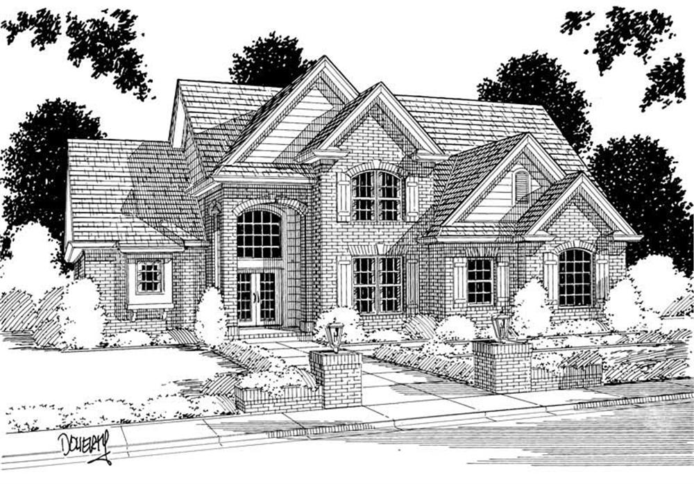 Front elevation of European home (ThePlanCollection: House Plan #178-1001)