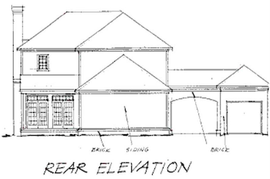 Home Plan Rear Elevation of this 4-Bedroom,2284 Sq Ft Plan -178-1007