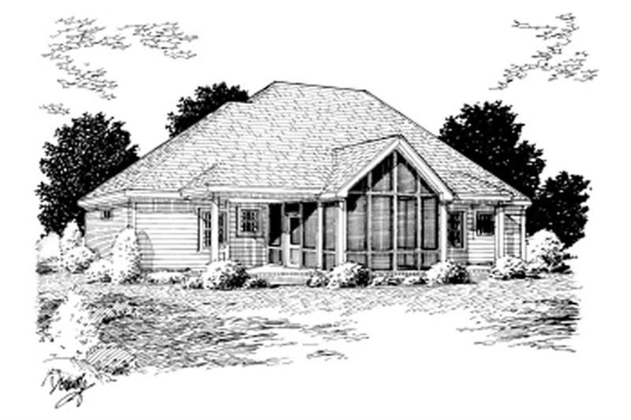 Home Plan Rear Elevation of this 3-Bedroom,1604 Sq Ft Plan -178-1015