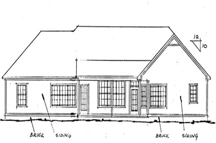 Home Plan Rear Elevation of this 4-Bedroom,2297 Sq Ft Plan -178-1023