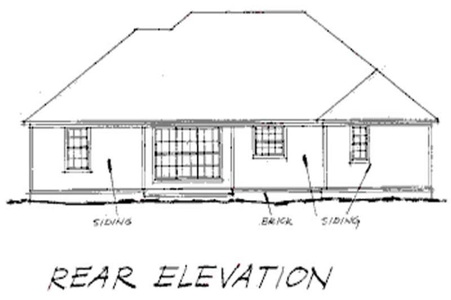 Home Plan Rear Elevation of this 4-Bedroom,1539 Sq Ft Plan -178-1029