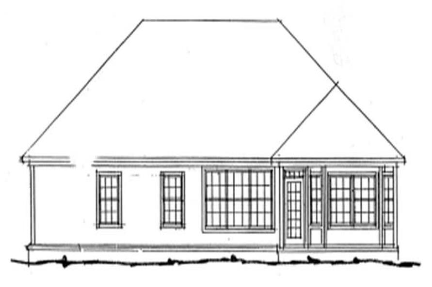 Home Plan Rear Elevation of this 3-Bedroom,1498 Sq Ft Plan -178-1041