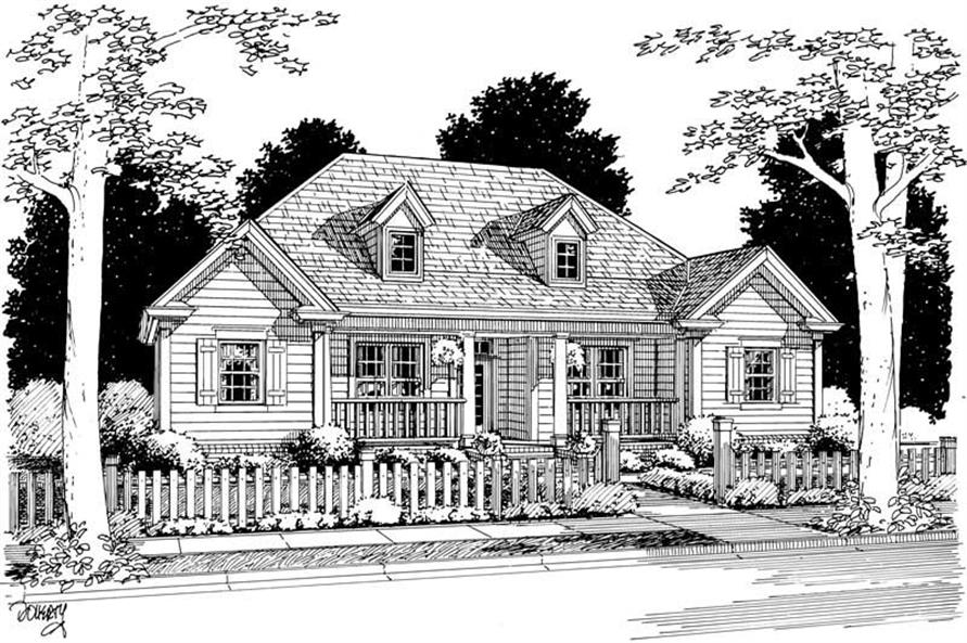 Front elevation of Country home (ThePlanCollection: House Plan #178-1041)