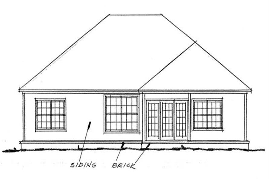 Home Plan Rear Elevation of this 3-Bedroom,1682 Sq Ft Plan -178-1046