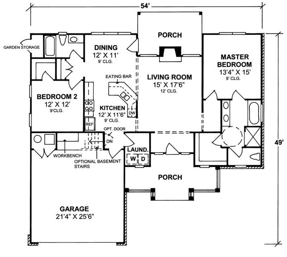 House Plan #178-1047 : 2 Bedroom, 1394 Sq Ft Country