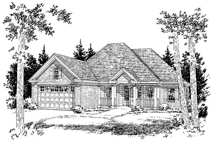 Front Elevation of this 2-Bedroom,1394 Sq Ft Plan -1394