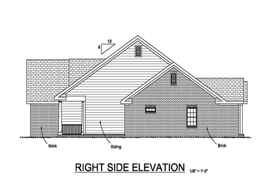 Home Plan Right Elevation of this 4-Bedroom,1958 Sq Ft Plan -178-1048