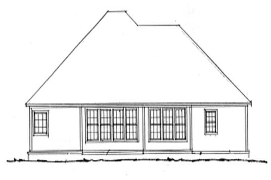 Home Plan Rear Elevation of this 3-Bedroom,1709 Sq Ft Plan -178-1052