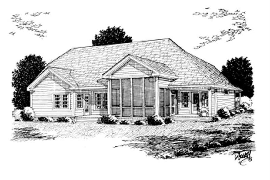 Home Plan Rear Elevation of this 3-Bedroom,1915 Sq Ft Plan -178-1057