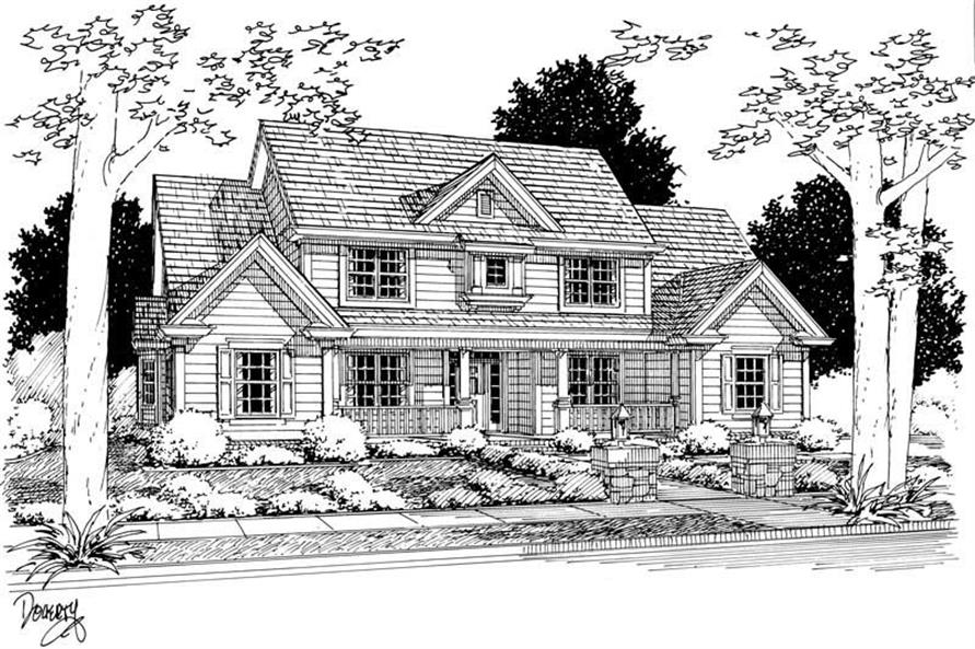 4-Bedroom, 2782 Sq Ft Country Home Plan - 178-1058 - Main Exterior