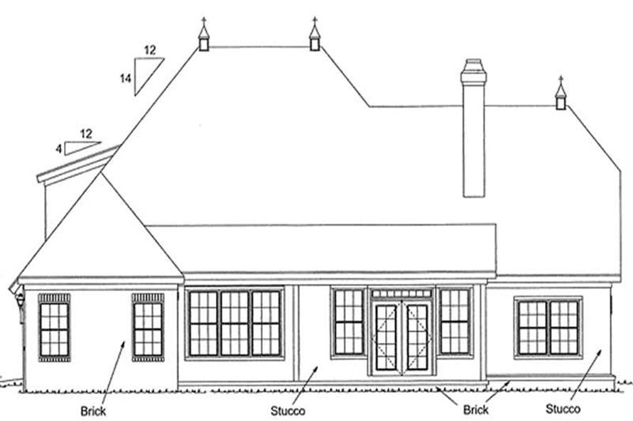 Home Plan Rear Elevation of this 4-Bedroom,2587 Sq Ft Plan -178-1059