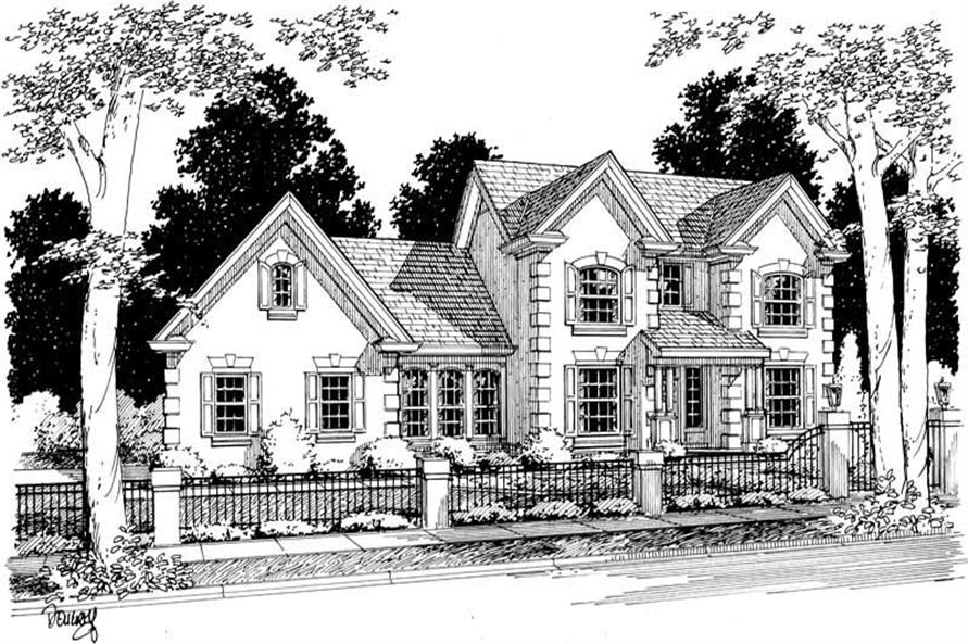 3-Bedroom, 1593 Sq Ft European Home Plan - 178-1068 - Main Exterior