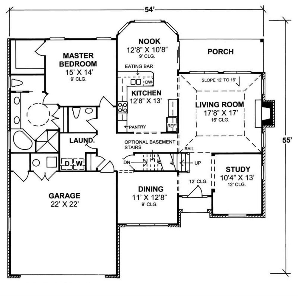 floor plan for a house traditional home plan 3 bedrms 2 baths 2176 sq ft 178 1072 9324