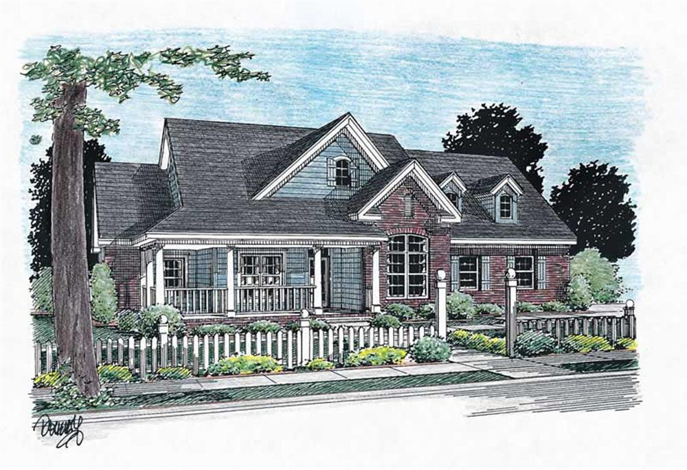 Front elevation of Country home (ThePlanCollection: House Plan #178-1074)