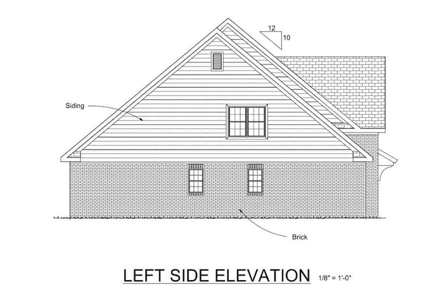 Home Plan Left Elevation of this 4-Bedroom,2241 Sq Ft Plan -178-1075