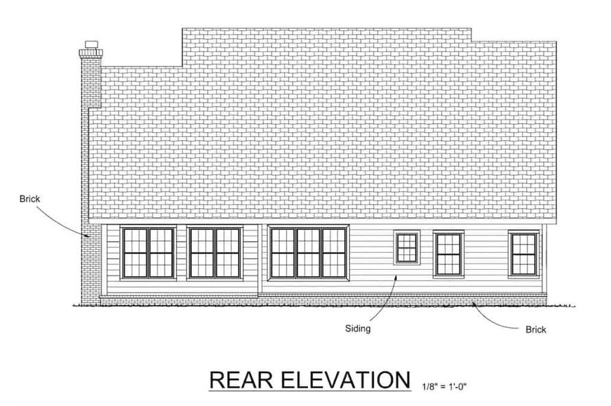 Home Plan Rear Elevation of this 4-Bedroom,2241 Sq Ft Plan -178-1075