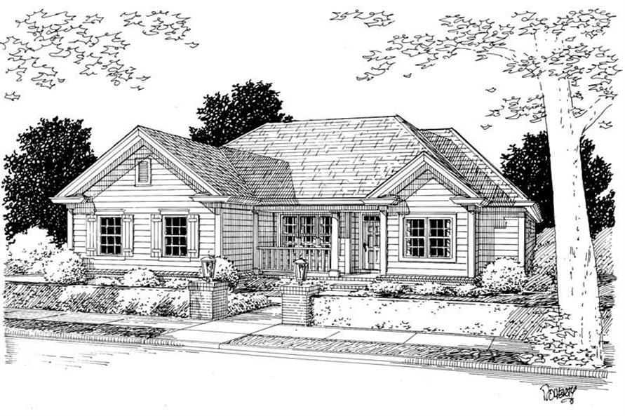 3-Bedroom, 1344 Sq Ft Small House Plans - 178-1076 - Front Exterior