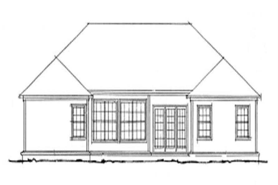 Home Plan Rear Elevation of this 4-Bedroom,1592 Sq Ft Plan -178-1077