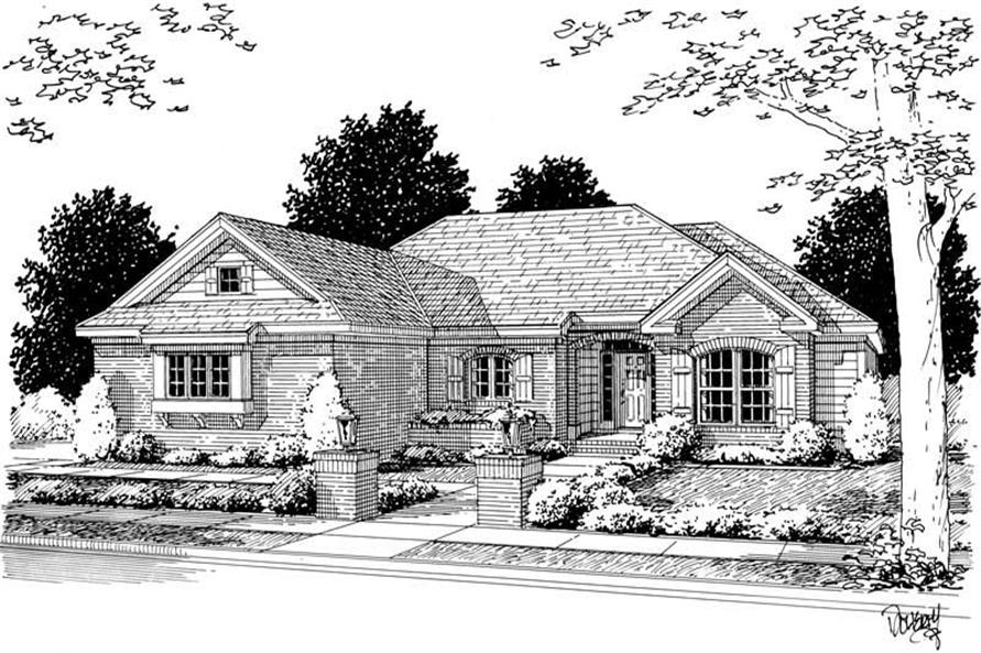 4-Bedroom, 1592 Sq Ft Small House Plans - 178-1077 - Front Exterior