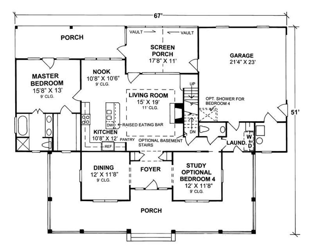 4 bedrm 1980 sq ft country house plan 178 1080 for Floor plane