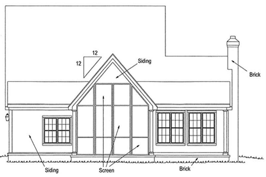 Home Plan Rear Elevation of this 3-Bedroom,1867 Sq Ft Plan -178-1081