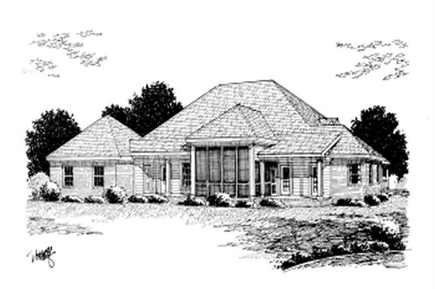Home Plan Rear Elevation of this 3-Bedroom,2135 Sq Ft Plan -178-1083