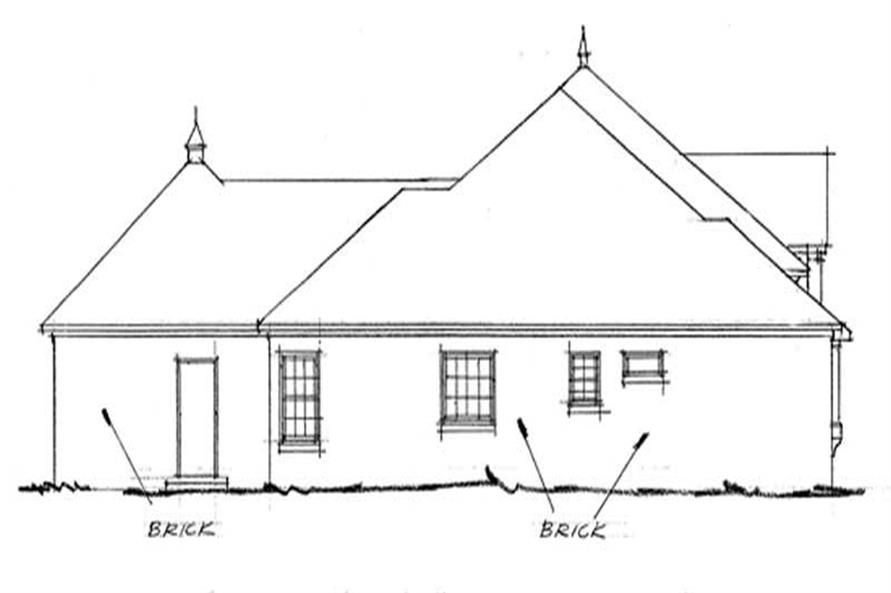 Home Plan Rear Elevation of this 4-Bedroom,2462 Sq Ft Plan -178-1088