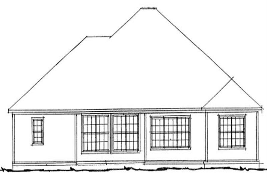 Home Plan Rear Elevation of this 4-Bedroom,1954 Sq Ft Plan -178-1089