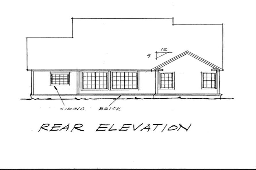 Home Plan Rear Elevation of this 3-Bedroom,1664 Sq Ft Plan -178-1094