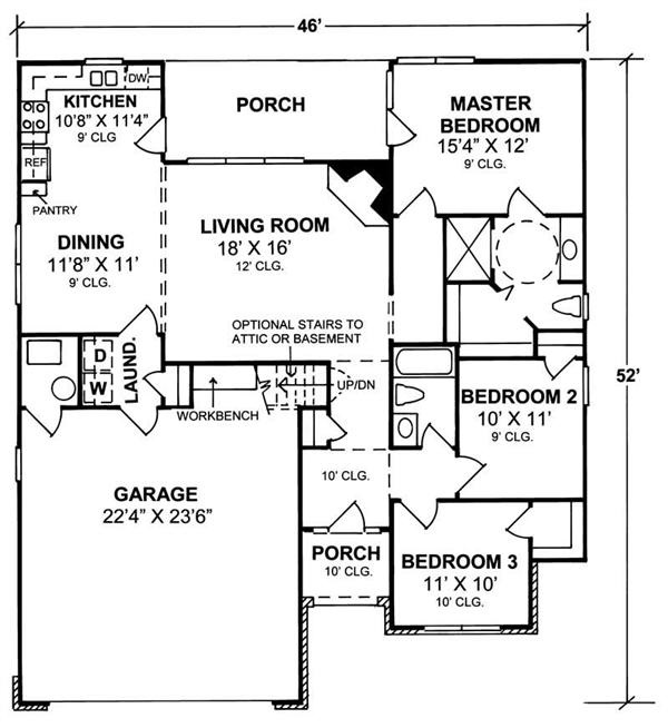 178-1100 house plan main level
