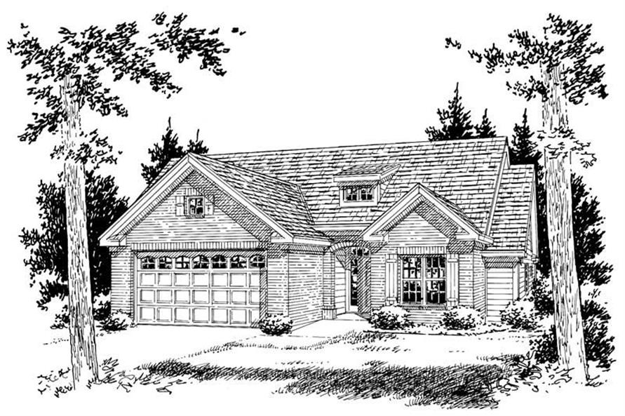 Home Plan Rendering of this 3-Bedroom,1407 Sq Ft Plan -178-1100