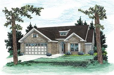 3-Bedroom, 1407 Sq Ft Country Home Plan - 178-1100 - Main Exterior