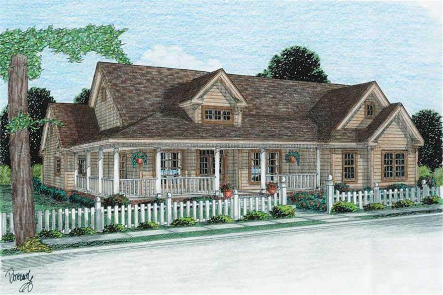 3-Bedroom, 2512 Sq Ft Country House Plan - 178-1103 - Front Exterior