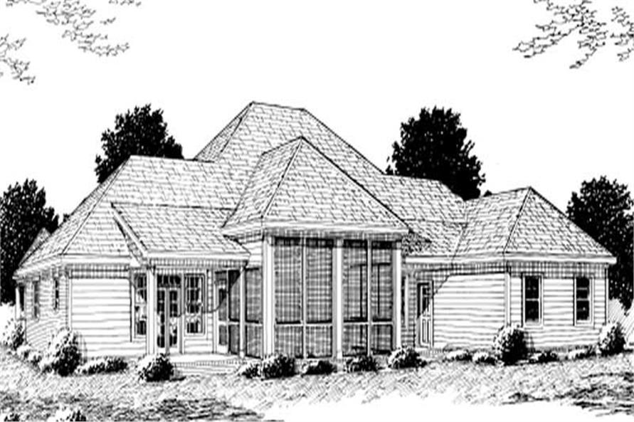 Home Plan Rear Elevation of this 3-Bedroom,2758 Sq Ft Plan -178-1104