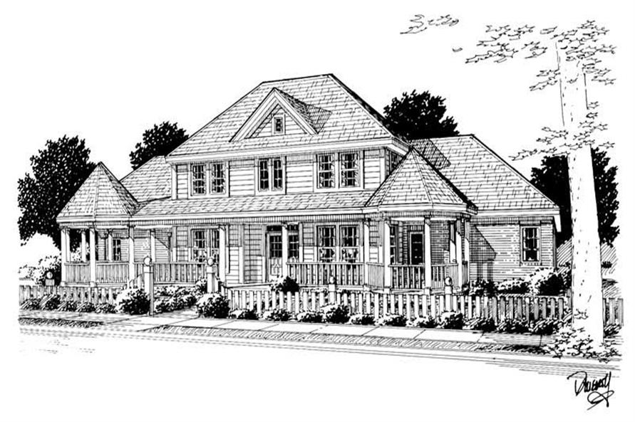 3-Bedroom, 2758 Sq Ft Country House Plan - 178-1104 - Front Exterior