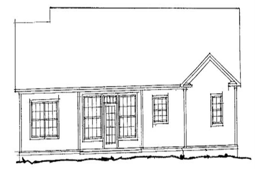 Home Plan Rear Elevation of this 4-Bedroom,1496 Sq Ft Plan -178-1107