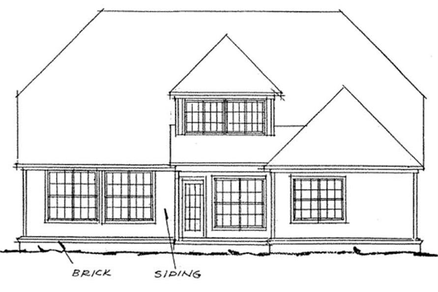 Home Plan Rear Elevation of this 4-Bedroom,2575 Sq Ft Plan -178-1121