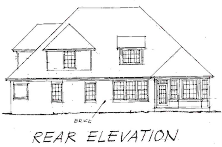 Home Plan Rear Elevation of this 4-Bedroom,2606 Sq Ft Plan -178-1123