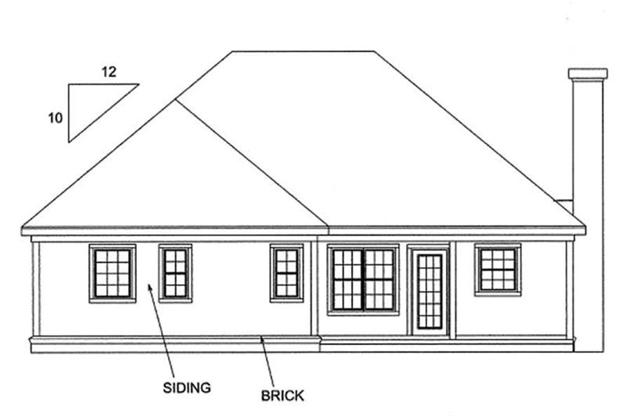 Home Plan Rear Elevation of this 3-Bedroom,1263 Sq Ft Plan -178-1125