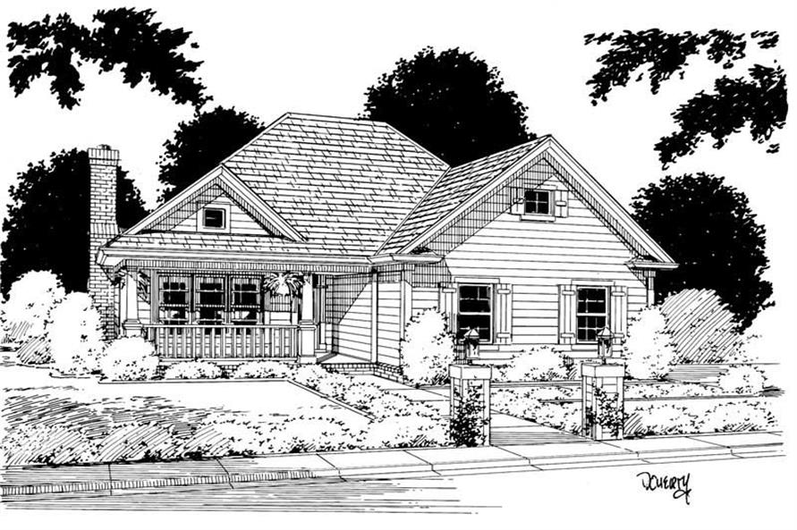Front Elevation of this 3-Bedroom,1263 Sq Ft Plan -1263
